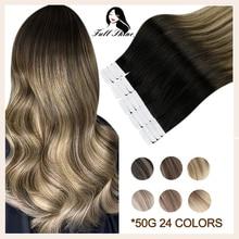 Полностью Сияющие волосы на ленте для наращивания, Balayage Omber, цвет блонд, настоящие натуральные человеческие волосы Remy, накладные волосы для ...