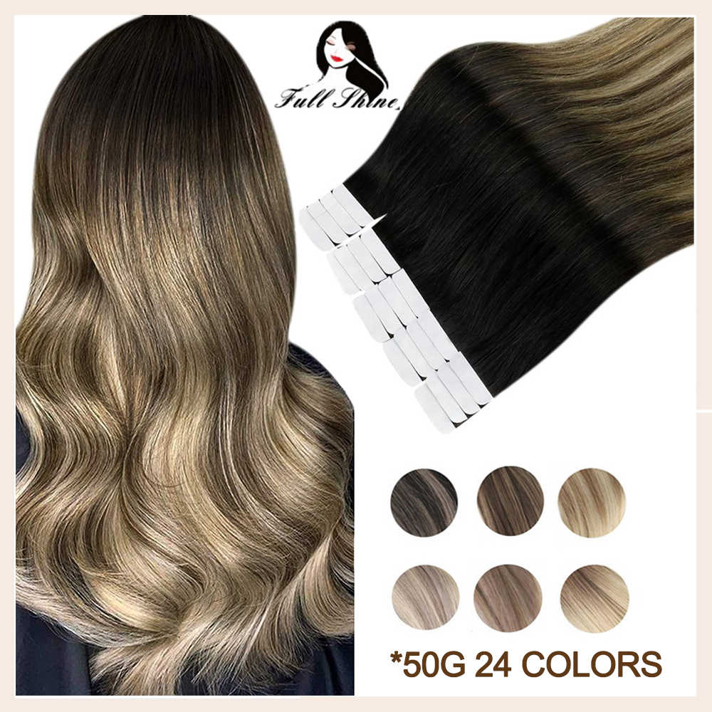 Full Shine Tape In Human Hair Extensions Balayage Omber Color Blonde Real Remy Natural Human Hair Skin Weft Adhesive For Salon