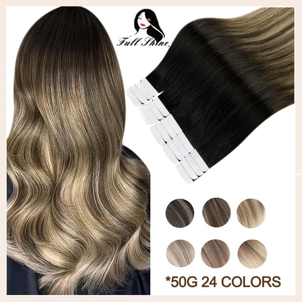 Fita completa do brilho em extensões do cabelo humano balayage omber cor loira real remy natural da pele do cabelo humano trama adesivo para salão de beleza
