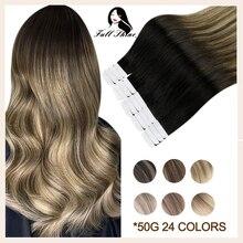 Tam parlaklık bant insan saçı postiş Balayage Omber sarışın kahverengi % 100% insan saçı cilt atkı yapışkanlı tutkal makinesi remy