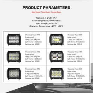 Image 2 - 18W 60W 72W 4 אינץ LED אור עבודה בר מבול ספוט קומבו Beam 12V 24V לuaz משאית 4X4 טרקטורונים SUV UTV LED נהיגה עבודה מנורת ערפל