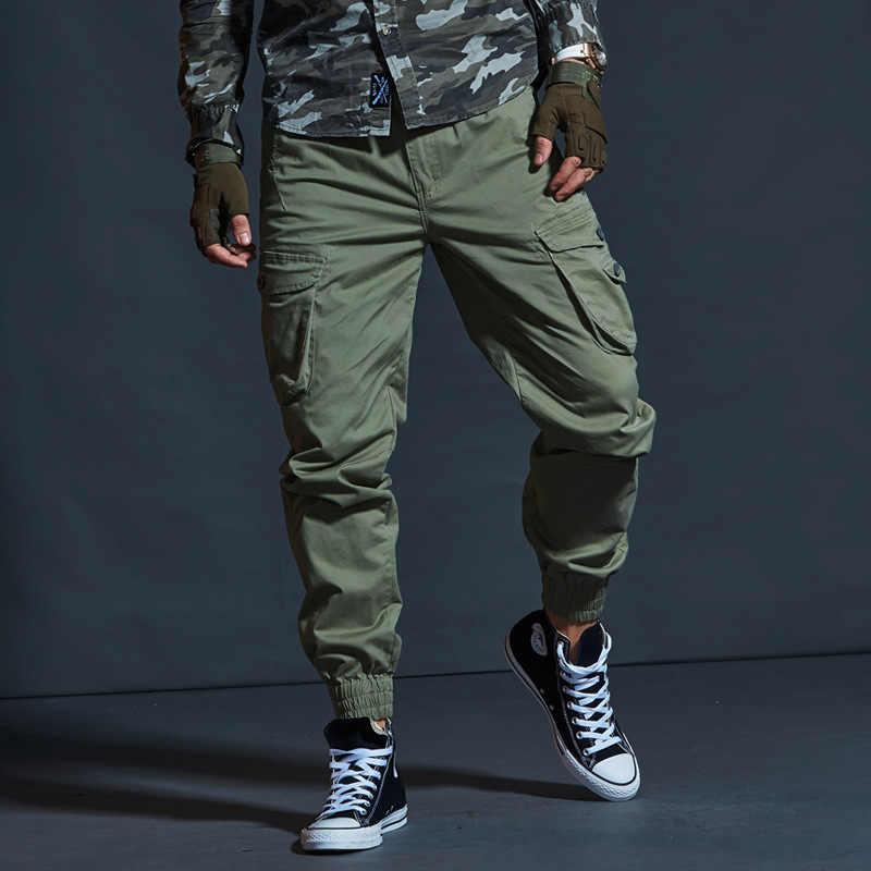 De alta calidad de color caqui pantalones casuales para hombres táctico militar pantalones para correr con diseño de camuflaje pantalones de carga Multi-Bolsillo moda negro ejército Pantalones