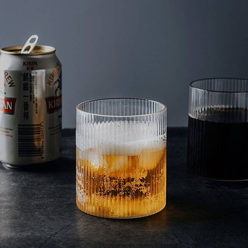 Retro glass beer ice coffee cup Household Whiskey glass Japanese Handmade striped wine glass