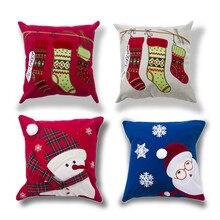 Christmas Pillow Cases Snowman Alphabet 45cm*45cm Cotton Linen Embroidery Decorative Cushioncover Warm Chair PillowCase or16