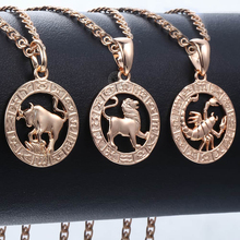 Pendants Necklaces Sign Male Jewelry Birthday-Gifts 585 Constellations Rose-Gold 12-Zodiac