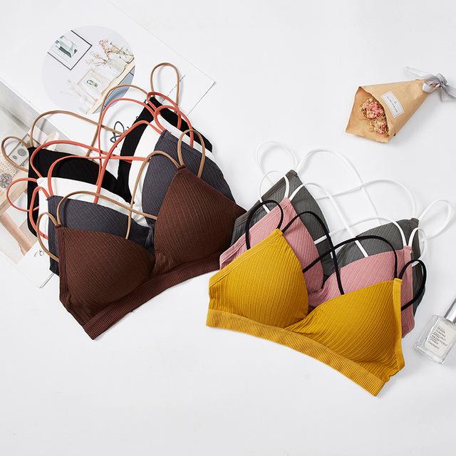 Push up wire free underwear women bralette female contrast lingerie padded triangle cup free size bras