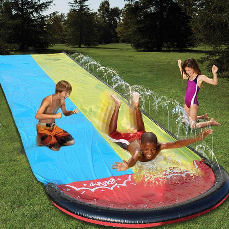 Surfboard Backyard Outdoor Splash Pool Summer Kids Toy PVC Dual Racing Lanes Garden Party Park Water Slide Funny Sprinker