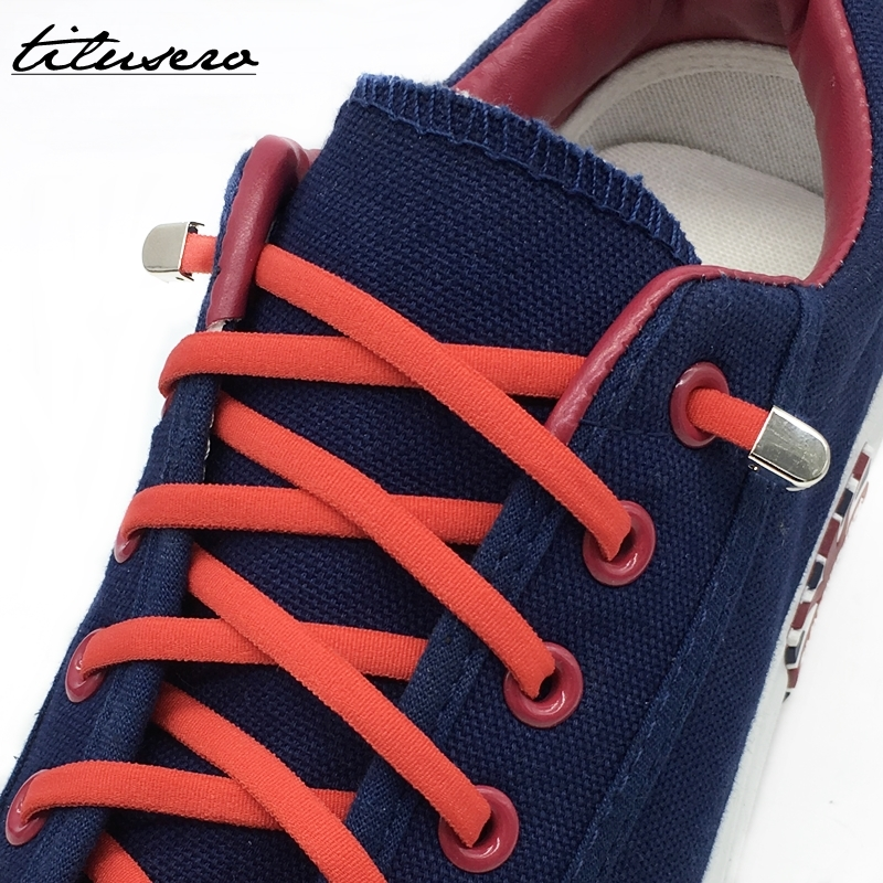 1pair New Quick Lazy Shoelaces Elastic Shoelaces Metal Buckle No Tie Shoe Laces F092
