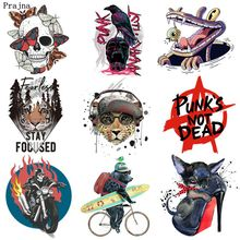 Skull-Patches Heat-Transfer Jeans Coat Applique Flame Motorcycle Prajna Iron-On for DIY