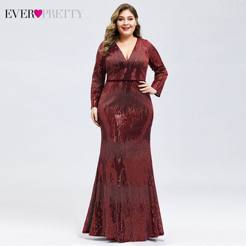 Luxury Prom Dresses Plus Size Ever Pretty Full Sleeve Deep Mermaid V-Neck Sequined Sexy Autumn Winter Party Gowns Gala Jurk 2020 4