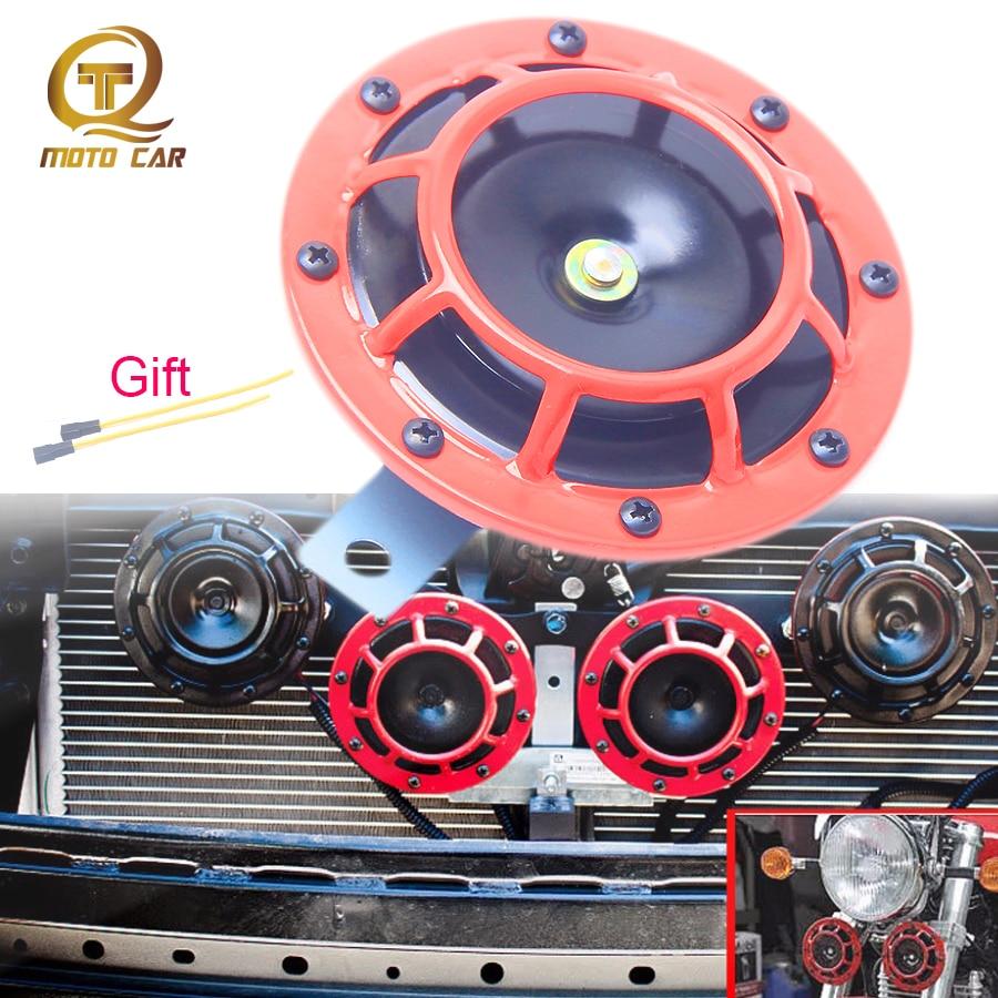 ORANGE SUPER LOUD ELECTRIC BLAST TONE HORN MOTORCYCLE CHOPPER 12V