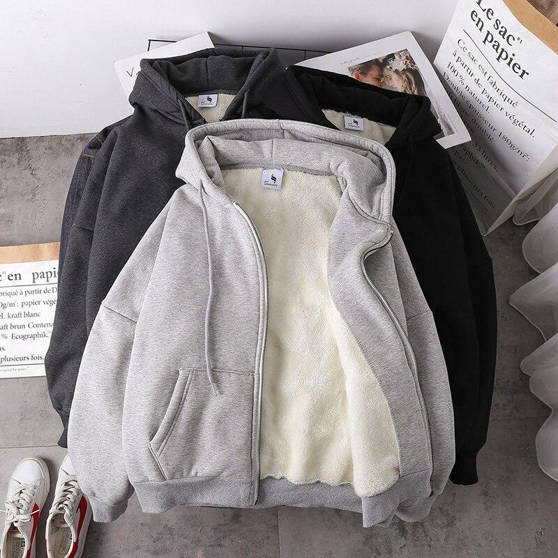 Куртка женская однотонная обувь 2020 на осень-зиму новая имитация овечьей шерсти в Корейском стиле свободные плюс толстый бархат с капюшоном ...