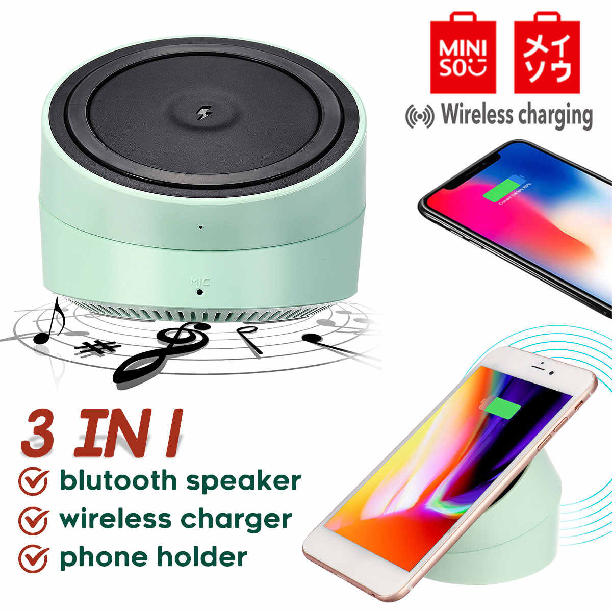 Miniso Portabel Bluetooth Speaker Nirkabel Charger Pengeras Suara Tidak Dapat Dipisahkan dengan Bt Speaker untuk Ponsel Komputer Stereo Musik