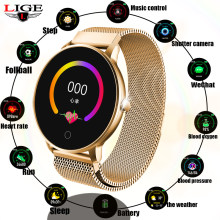LIGE Women Smart watch Health Monitor Heart Rate / Blood Pressure / Waterproof Pedometer Men's and Women's Sports Smartwatch N58(China)
