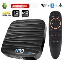 Tv box android 10, 4gb 32gb 64gb 4k h.265 media player, vídeo 3d 2.4g caixa de tv smart 5ghz wifi bluetooth rk3318, caixa de televisão smart