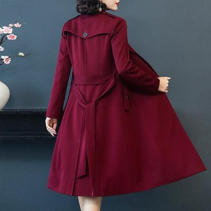 NEW The 2019 Spring And Autumn New Women's Windbreaker Women's Coat Long Black Size Waist Slim Leisure Temperament
