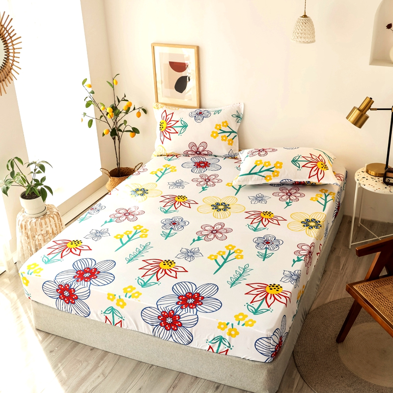 Bonenjoy 3 pcs Fitted Bed Sheets Single drap de lit Geometric Pattern Stitching Mattress Cover with elastic For Double Bed Sheet 17