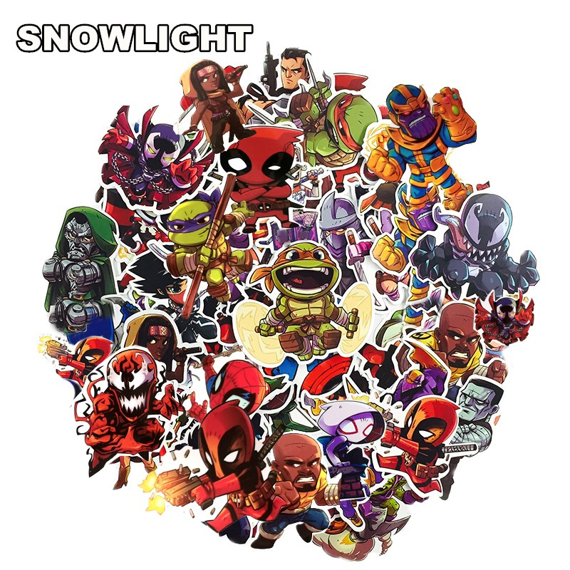 50Pcs  Cartoon Marvel Sticker Waterproof For Laptop Moto Skateboard Luggage Guitar Furnitur Decal Toy Stickers