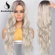 KooKaStyle – perruques synthétiques longues et ondulées pour femmes, postiche à raie latérale naturelle, cheveux de fête résistants à la chaleur, blondes ombrées, Brizilan