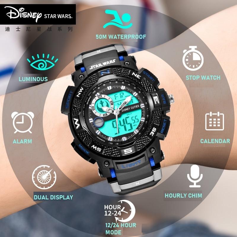 Disney Star Wars Sports Men's Watches Luxury Military Quartz  Dual Display Waterproof S Shock Male Clock Relogio Masculino New