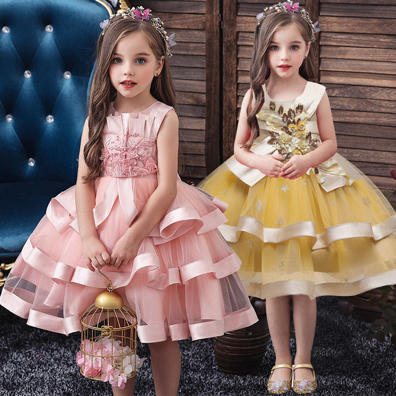 Flower Girl Princess Wedding Party Bead Banquet Peng Dress Girl Christmas Party Eucharist Formal Party Dress Vestidos De Fiesta