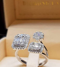 Luxury Female Ladies Square Zircon Adjustable Ring 925 Silver Crystal Engagement Ring Classic Promise Wedding Rings For Women(China)