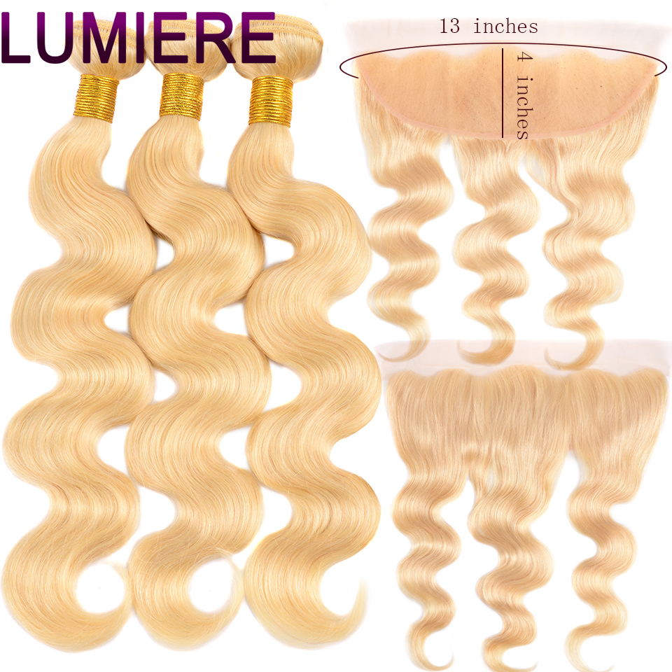 Lumiere <font><b>Hair</b></font> Remy Blonde Color <font><b>Hair</b></font> <font><b>Body</b></font> <font><b>Wave</b></font> <font><b>3</b></font> <font><b>Bundles</b></font> with 13x4 Ear to Ear Lace Frontal Closure Brazilian Human Blonde <font><b>613</b></font> Hai image
