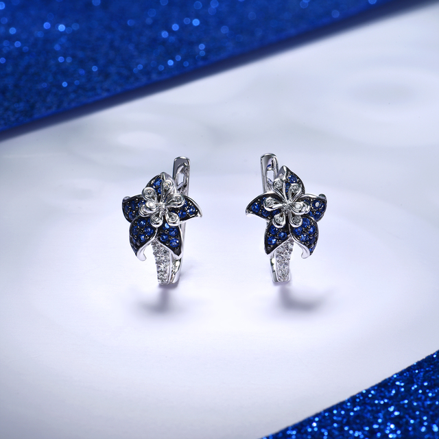 Jewelry A102 SANTUZZA Silver Earrings For Woman Pure 925 Sterling Silver Blue Star Flower Cubic Zirconia Fashion Jewelry
