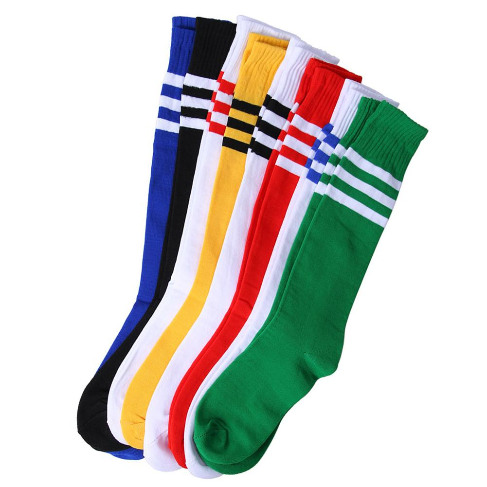2020 Professional Kids Long Soccer Socks Above Knee Cotton Children Striped Socks Sports Soccer Socks For Boys And Girls