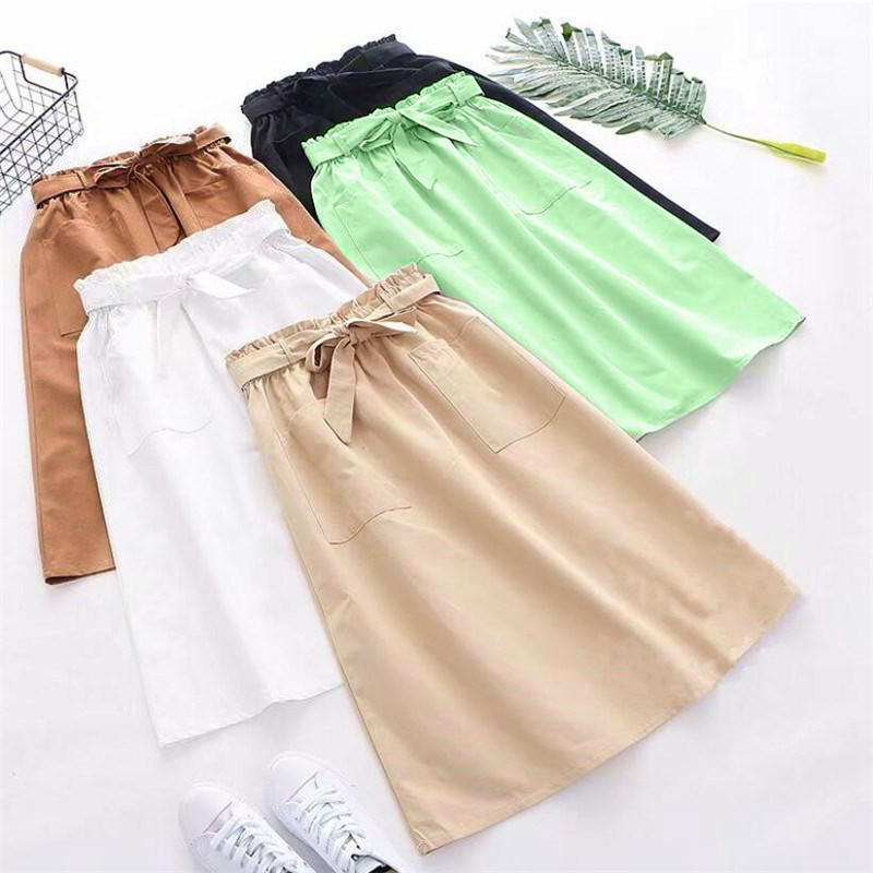 2019 Womens Elastic High Waist A-line Long Skirt Leisure Female Lace-up Double Pocket Skirts Faldas Mujer Jupe Femme