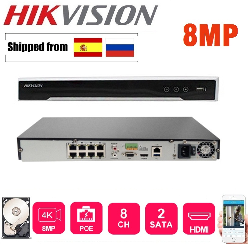 Hikvision DS-7608NI-K2/8 P Englisch version 8POE ports 8ch NVR mit 2 SATA ports plug & play NVR H.265