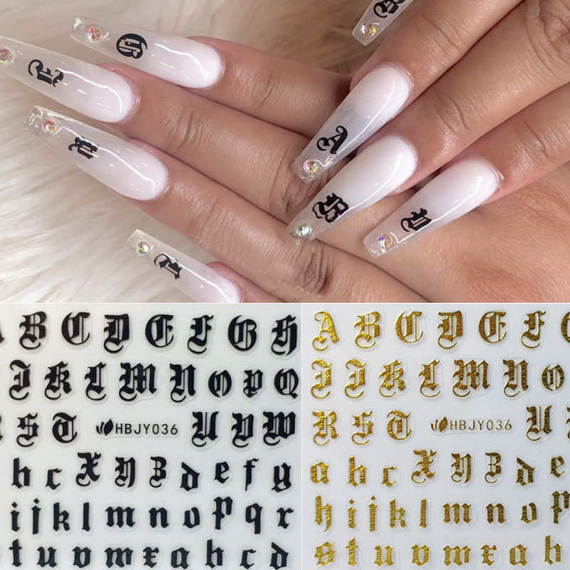3 Sheets Alphabet Letters Number Metal Stickers DIY Nail Art Glass Decals Decor