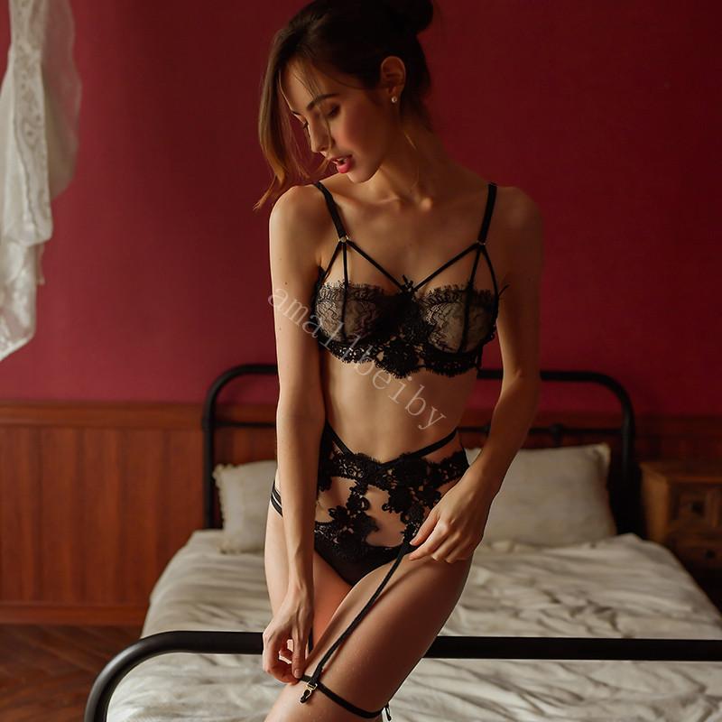 H798a70f9fa484a6eaef14200380d231cd Sexy Lace Bra and Panty Set with Garter Belt Women's Lingerie Y-Line Adjustable Shoulder Strap Transparent Brief Bra Sets