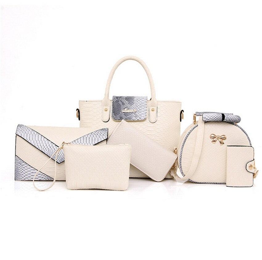 2019 White Handbag Label Latest Hand Bag Set Ladies Handbag Set Of 6PCS