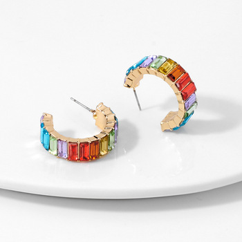 Multicolor Shiny Crystal Stud Earrings For Women Party Accessories Bisuteria Mujer 2020 Statement Gold Earings Fashion Jewelry