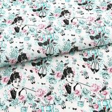Audrey dos desenhos animados caixa de presente 100% algodão tecido para retalhos hometextile mochilas slipcover doggy roupas diy material