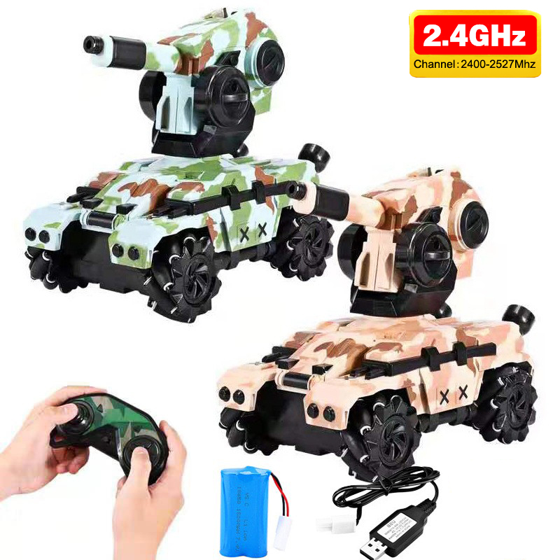 2020 NEW RC Tank 2.4G 4WD Can Fire Water Bombs RC Tank Drift Horizontal Movement 360 ° Rotating Rc Boy Toys For Kids Children