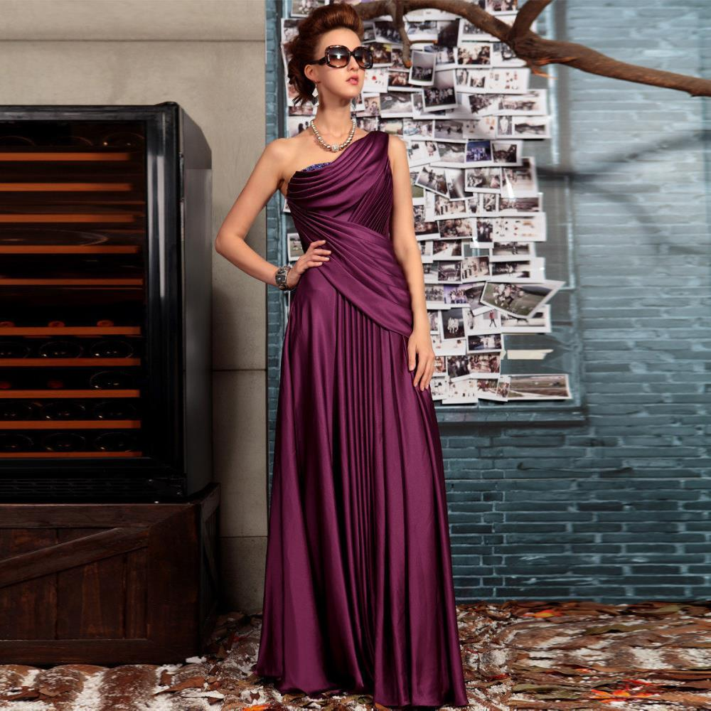 Free Shipping 2016 Purple Married One Shoulder Long Design Fashion Evening Dress Banquet Dress Mother Of The Bride Dresses