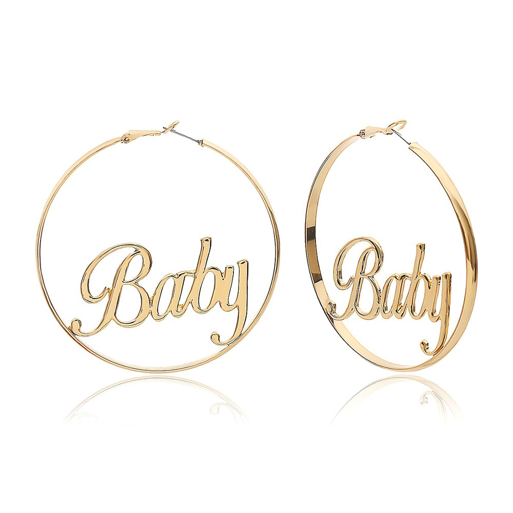 Punk Hyperbole Big Circle With Baby Femme Letter Personality Hoop Earrings Women Fashion Jewelry Oorbellen Female