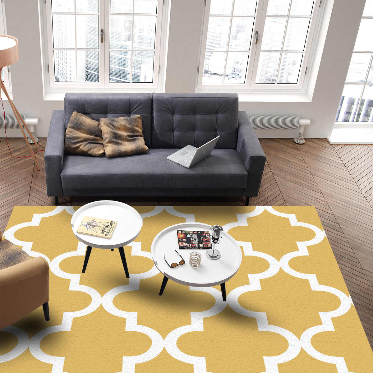 Geometric Lattice Prismatic Moroccan Style Yellow Modern Carpets For Living Room Rugs Large Anti Slip Safety Carpet