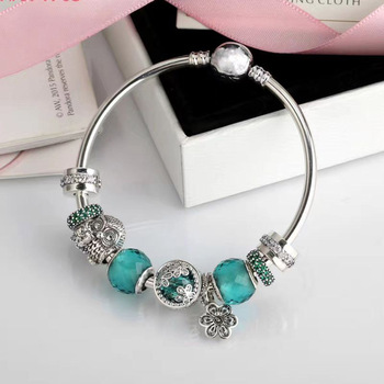 Quality Original 1:1 100%925 Sterling Silver Owl Beaded Bracelet Free Shipping