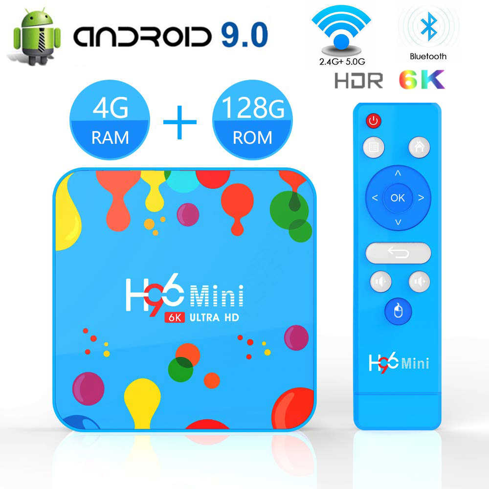 Android 9.0 สมาร์ททีวี IPTV H96 MINI 6K ULTRA HDTV TVBOX 2.4G และ 5.8 GHz Dual WiFi set-Top Box Google Play Home Media Player กล่อง