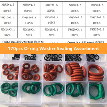 170pcs/set Rubber O Ring O-Ring Washer Seals Watertightness  Different Size NBR VMQ FKM Assortment Kit Set With Plactic Box