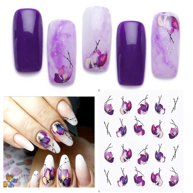 Purple Flower Nail Art Water Decals Flower Rose Geometric Figure Leaf Nail Art Transfer Stickers Decoration Design Decals