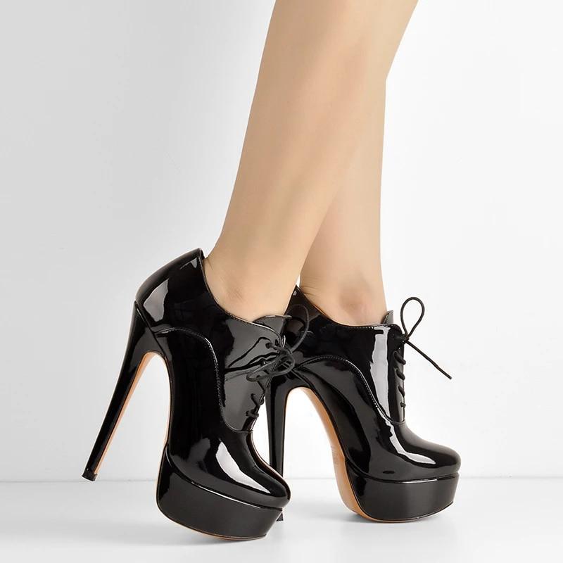 Women Ankle Boots Round Toe High Heels Platform Black Patent Booties Side zip