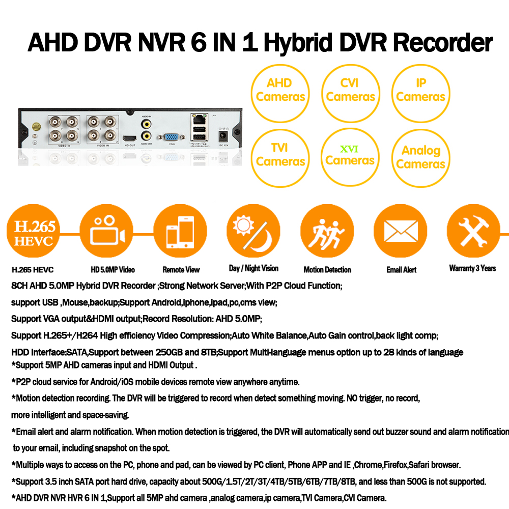 AI Gesicht Erkennung Gesicht anerkennung holen AHD Netzwerk DVR Video Recorder 8CH H.265 + 5MP Hybrid DVR NVR IP Kamera sicherheit kit - 6