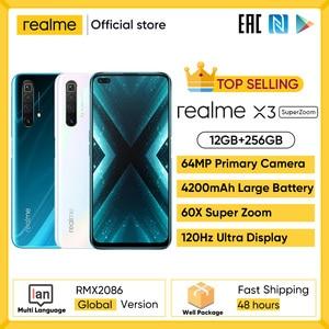 Realme X3 12 Гб 256 Гб Смартфон 120 Гц Дисплей мобильный телефон 64MP 60X суперзум мобильных телефона Snapdragon 855 + телефон большой Батарея