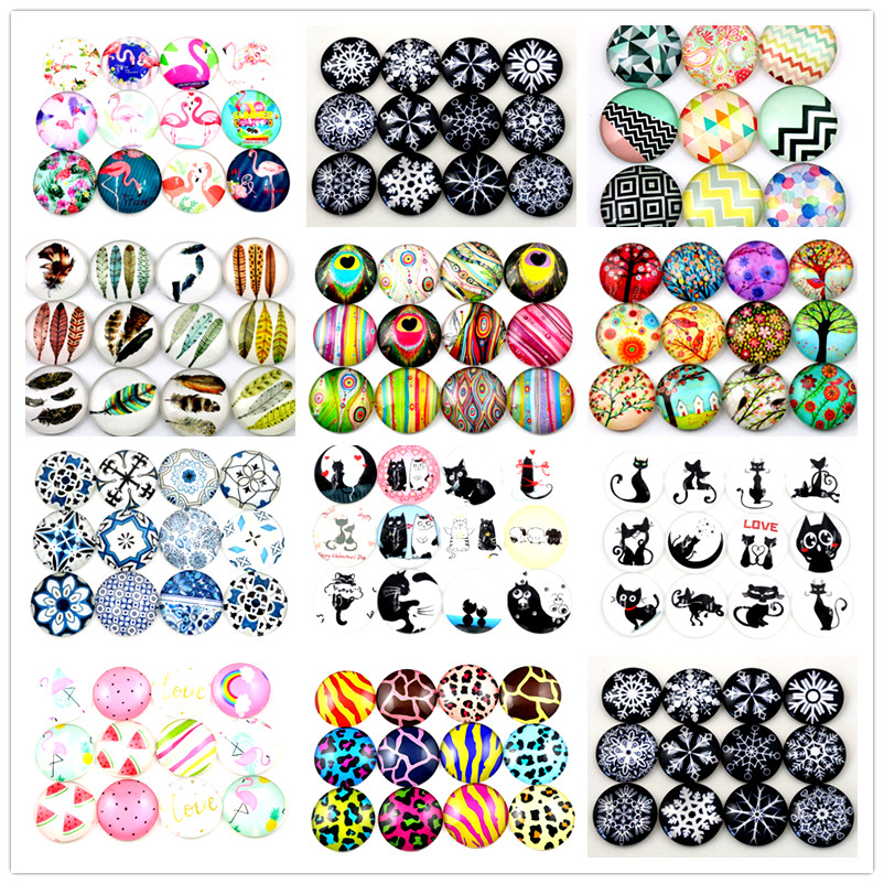 Hot Sale 10pcs 25mm New Fashion Mixed Cat Cut Handmade Photo Glass Cabochons Pattern Domed Jewelry Accessories Supplies