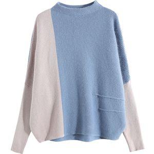 Image 2 - WITHZZ סתיו חורף מעיל גבוהה צווארון ניגודיות צבע סוודר בת שרוול השפל סוודר לנשים נקבה בסוודרים בגדים למעלה