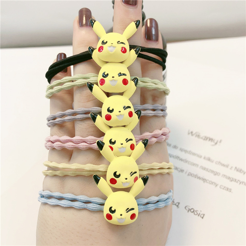 Pokemon Pikachu Head Rope Headwear Cosplay Props Alloy Girls Headdress Rubber Band Hair Ring Halloween Gifts